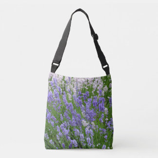 Purple lavender flowers crossbody bag