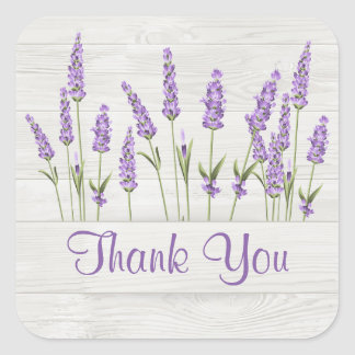 Purple lavender flowers on wooden planks Thank You Square Sticker