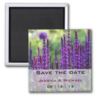 Purple Lavender Flowers Wedding Save the Date Magn Magnet