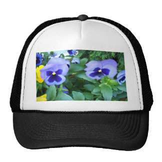 Purple Lavender Garden Pansies Flowers Floral Trucker Hat