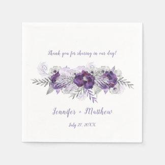 Purple Lavender Gray Background Reception Napkin