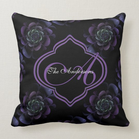 Purple Lavender Green Black Floral Monogram Throw Pillow