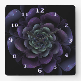 Purple Lavender Green Black Floral Spiral Square Wall Clock