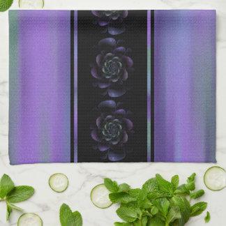 Purple Lavender Green Floral Stripe Hand Towels