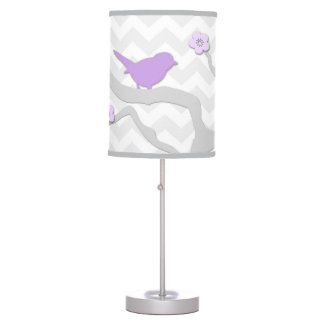 Purple Lavender Grey Bird on Branch Nursery Lamp