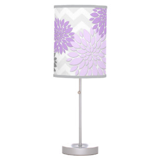 Purple Lavender Grey Dahlia Flower Nursery Lamp