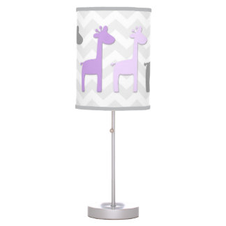 Purple Lavender Grey Giraffe Nursery Lamp