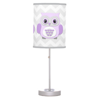Purple Lavender Grey Owl Nursery Lamp