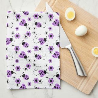 Purple Lavender Ladybug Lady Bug Floral Flowers Kitchen Towel