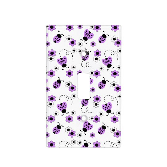 Purple Lavender Ladybug Lady Bug Floral Flowers Light Switch Cover