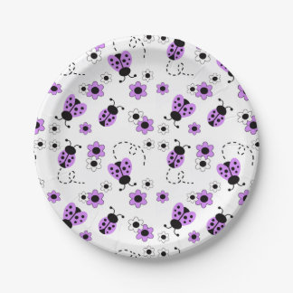 Purple Lavender Ladybug Lady Bug Girl Shower Party Paper Plate