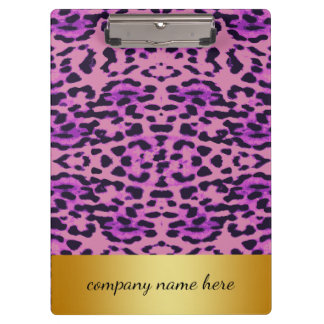 Purple Lavender Leopard Print with Gold Badge Clipboards