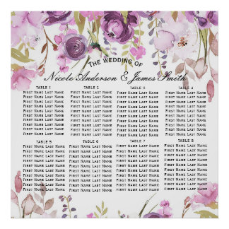 Purple Lavender Lilac Floral Wedding Seat Seating Poster