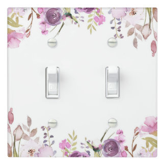 Purple Lavender Lilac Watercolor Floral Chic Light Switch Cover