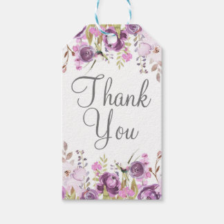 Purple Lavender Lilac Watercolor Floral Wedding Gift Tags