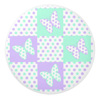 Purple lavender Mint Green Butterfly Polka Dot Ceramic Knob