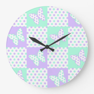 Purple lavender Mint Green Butterfly Polka Dot Large Clock