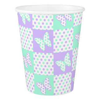 Purple lavender Mint Green Butterfly Polka Dot Paper Cup