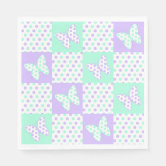 Purple lavender Mint Green Butterfly Polka Dot Paper Napkin
