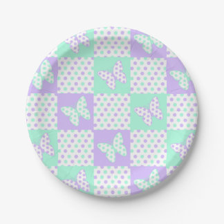 Purple lavender Mint Green Butterfly Polka Dot Paper Plate