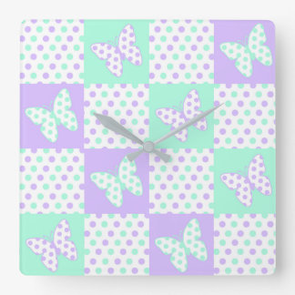 Purple lavender Mint Green Butterfly Polka Dot Square Wall Clock