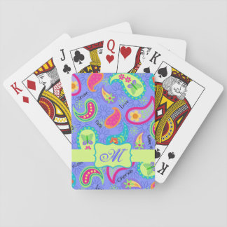 Purple Lavender Modern Paisley Pattern Monogram Playing Cards