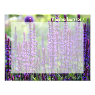 """Purple Lavender Personalized Flat Note Cards 4.25"""" X 5.5"""" Invitation Card"""