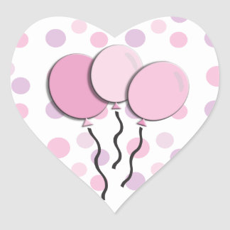 Purple Lavender Pink Polka Dot Birthday Party Heart Sticker