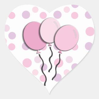 Purple Lavender Pink Polka Dot Birthday Party Heart Sticker