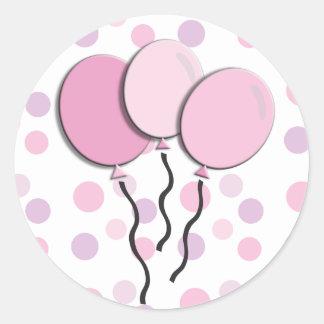 Purple Lavender Pink Polka Dot Birthday Party Round Sticker