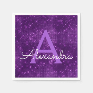 Purple Lavender Sparkle Monogram Initial Birthday Paper Napkins