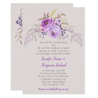 Purple Lavender Watercolor Floral Roses Wedding Card