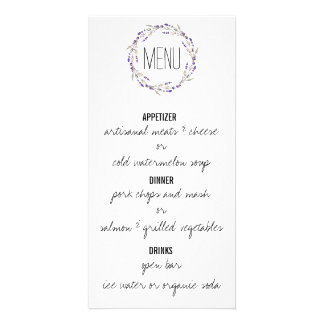 Purple Lavender Watercolor Menu Card