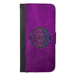 Purple Leather Celtic Knot iPhone Wallet Case