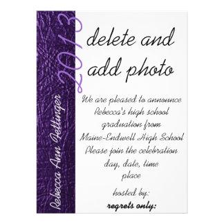 purple leather graduation invitations