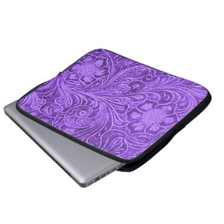 Purple Leather Texture Embossed Flowers Design Laptop Sleeve