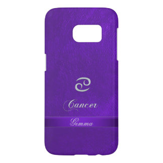 Purple Leather Zodiac Sign Cancer Samsung Galaxy S7 Case