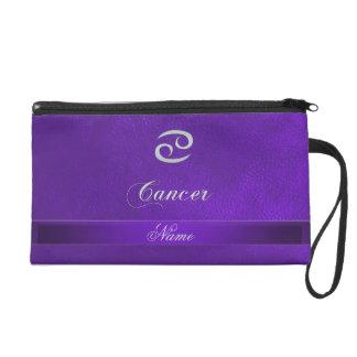 Purple Leather Zodiac Sign Cancer Wristlet