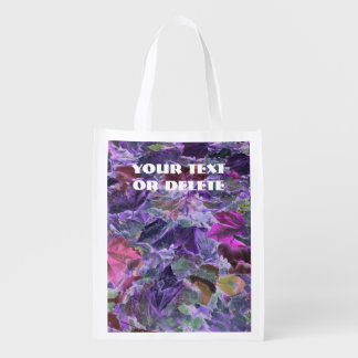 Purple Leaves Abstract Nature Reusable Grocery Bag