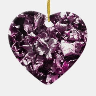 Purple leaves. ceramic heart ornament