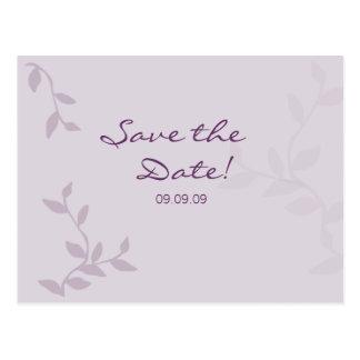 Purple Leaves Save the Date Postcard