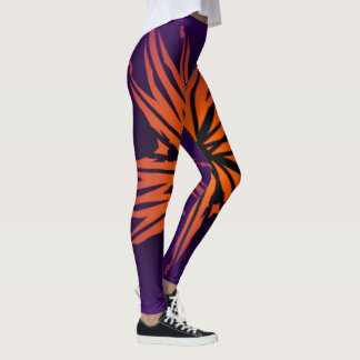 Purple leggings with a fiery flame.