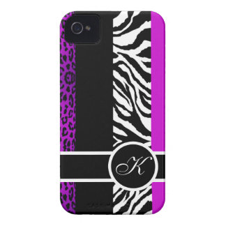 Purple Leopard and Zebra Animal Print Monogram iPhone 4 Case-Mate Case