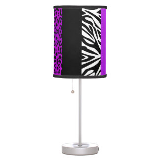 Purple Leopard and Zebra Custom Animal Print Table Lamp