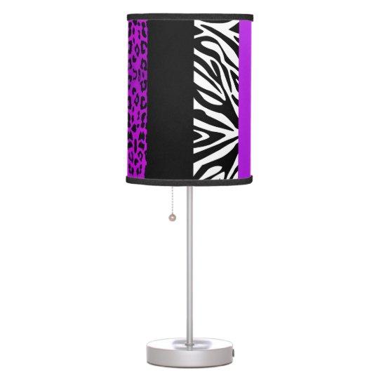 Purple Leopard and Zebra Custom Animal Print Table Lamps