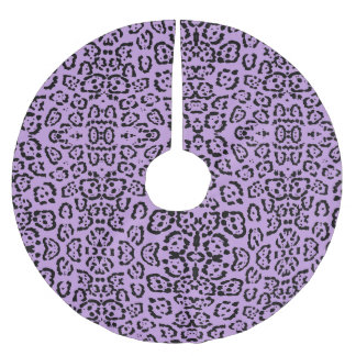 Purple Leopard Animal Print Brushed Polyester Tree Skirt