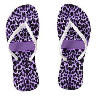 Purple Leopard Animal Print Flip Flops