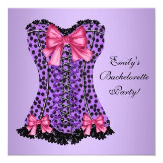 Purple Leopard Corset Bachelorette Party Card
