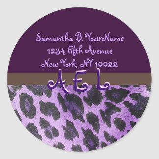 Purple Leopard Fur Monogram Address Labels