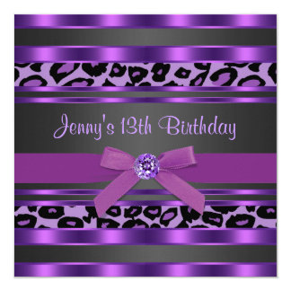 "Purple Leopard Girls 13th Birthday Party 5.25"" Square Invitation Card"